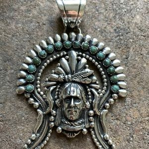 Jewelry - S.S.Green Turquoise Indian Chief Head Pendant. LJ